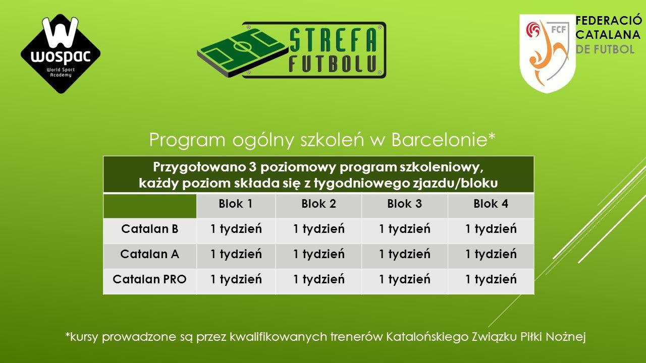 Przygotowano 3 poziomowy program szkoleniowy, każdy poziom składa się z tygodniowego zjazdu/bloku Blok 1Blok 2Blok 3Blok 4 Catalan B1 tydzień Catalan