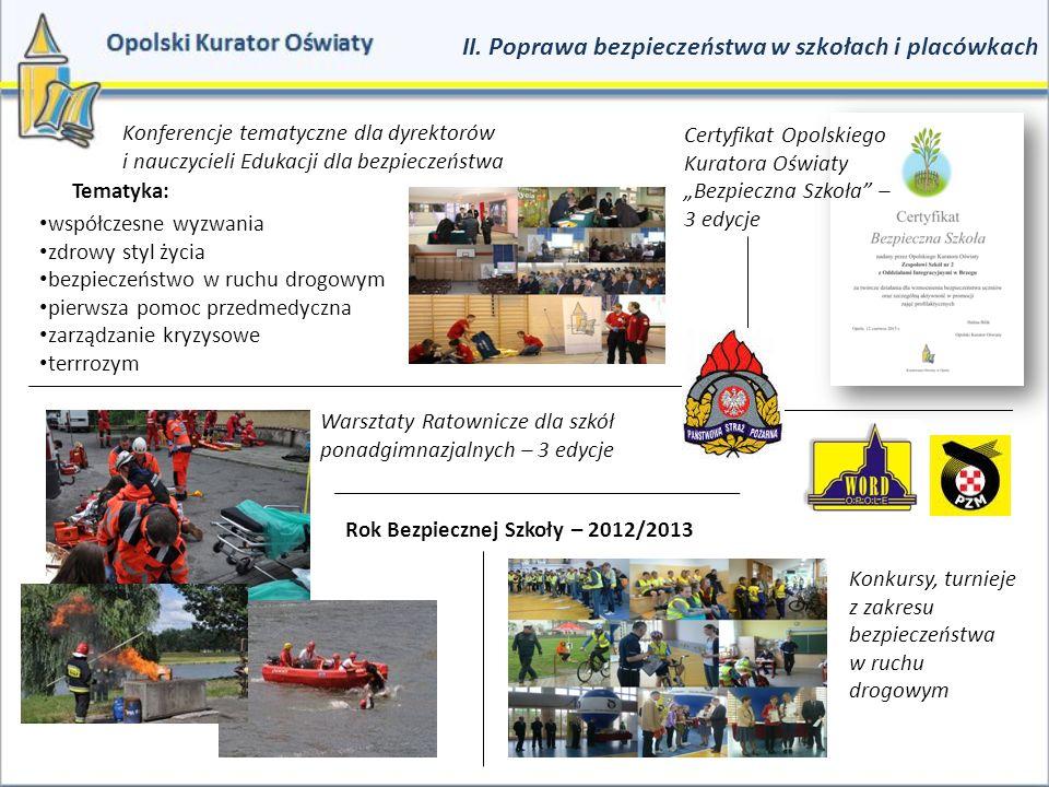 II. Poprawa bezpieczeństwa w szkołach i placówkach Konferencje tematyczne dla dyrektorów i nauczycieli Edukacji dla bezpieczeństwa współczesne wyzwani