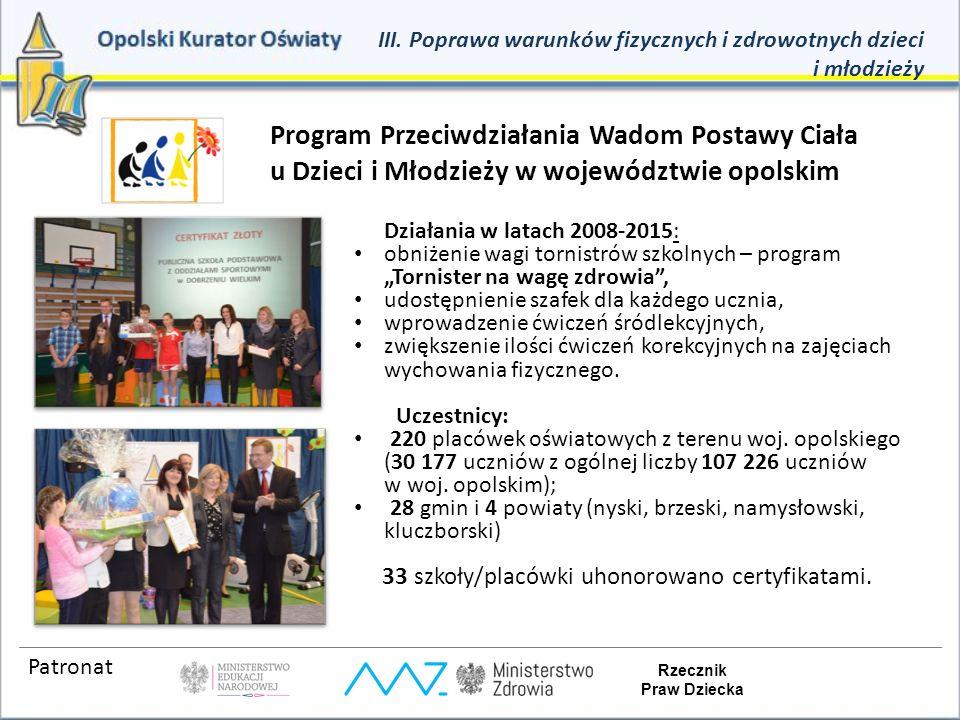 Program Przeciwdziałania Wadom Postawy Ciała u Dzieci i Młodzieży w województwie opolskim Działania w latach 2008-2015: obniżenie wagi tornistrów szko