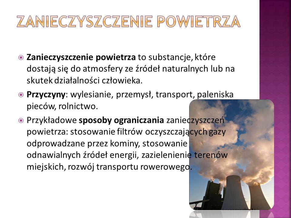  Zanieczyszczenie powietrza  Zanieczyszczenie wód  Zanieczyszczenie gleb
