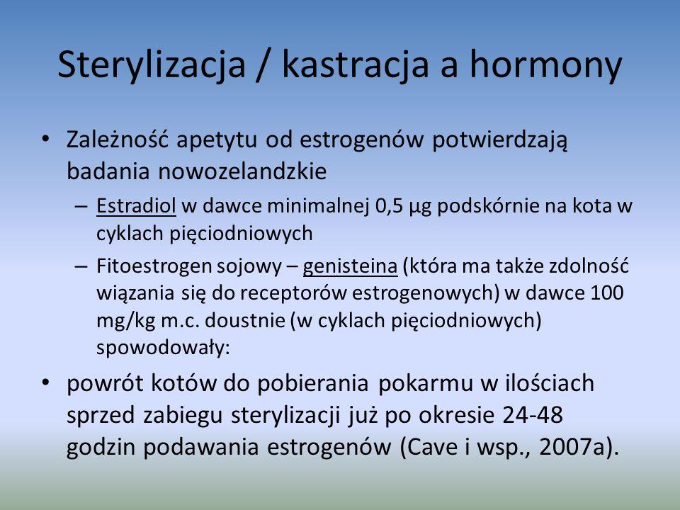 Sterylizacja / kastracja a hormony Zależność apetytu od estrogenów potwierdzają badania nowozelandzkie – Estradiol w dawce minimalnej 0,5 μg podskórnie na kota w cyklach pięciodniowych – Fitoestrogen sojowy – genisteina (która ma także zdolność wiązania się do receptorów estrogenowych) w dawce 100 mg/kg m.c.