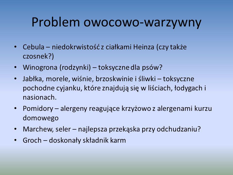 Problem owocowo-warzywny Cebula – niedokrwistość z ciałkami Heinza (czy także czosnek?) Winogrona (rodzynki) – toksyczne dla psów.