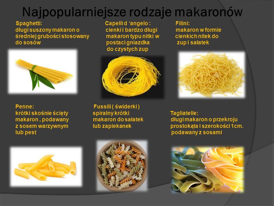 Najpopularniejsze rodzaje makaronów Spaghetti: Capelli d 'angelo : Filini: długi suszony makaron o cienki i bardzo długi makaron w formie średniej gru