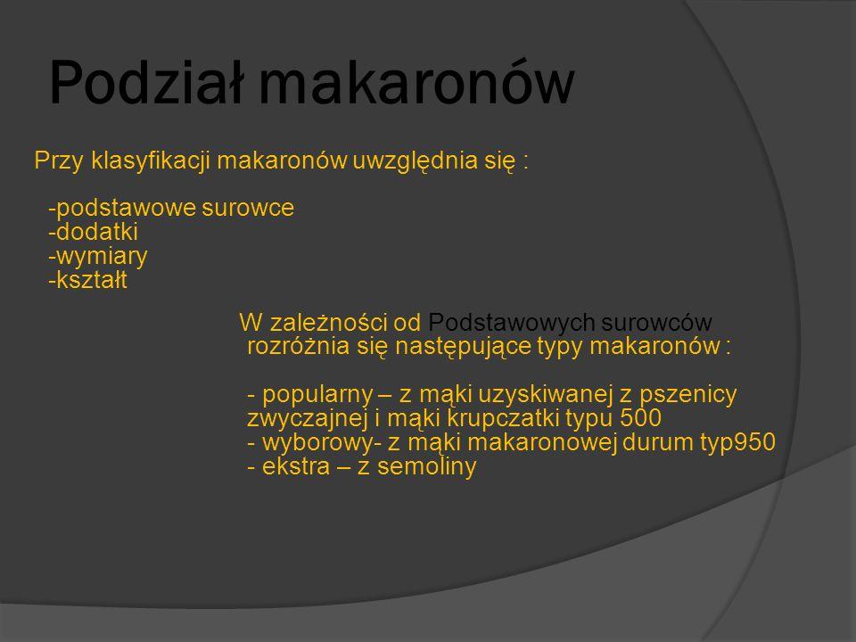 Podział makaronów Przy klasyfikacji makaronów uwzględnia się : -podstawowe surowce -dodatki -wymiary -kształt W zależności od Podstawowych surowców ro