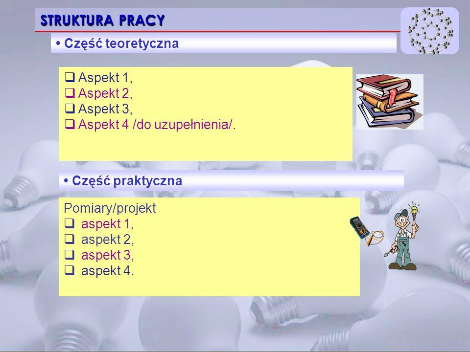 STRUKTURA PRACY Część teoretyczna  Aspekt 1,  Aspekt 2,  Aspekt 3,  Aspekt 4 /do uzupełnienia/.