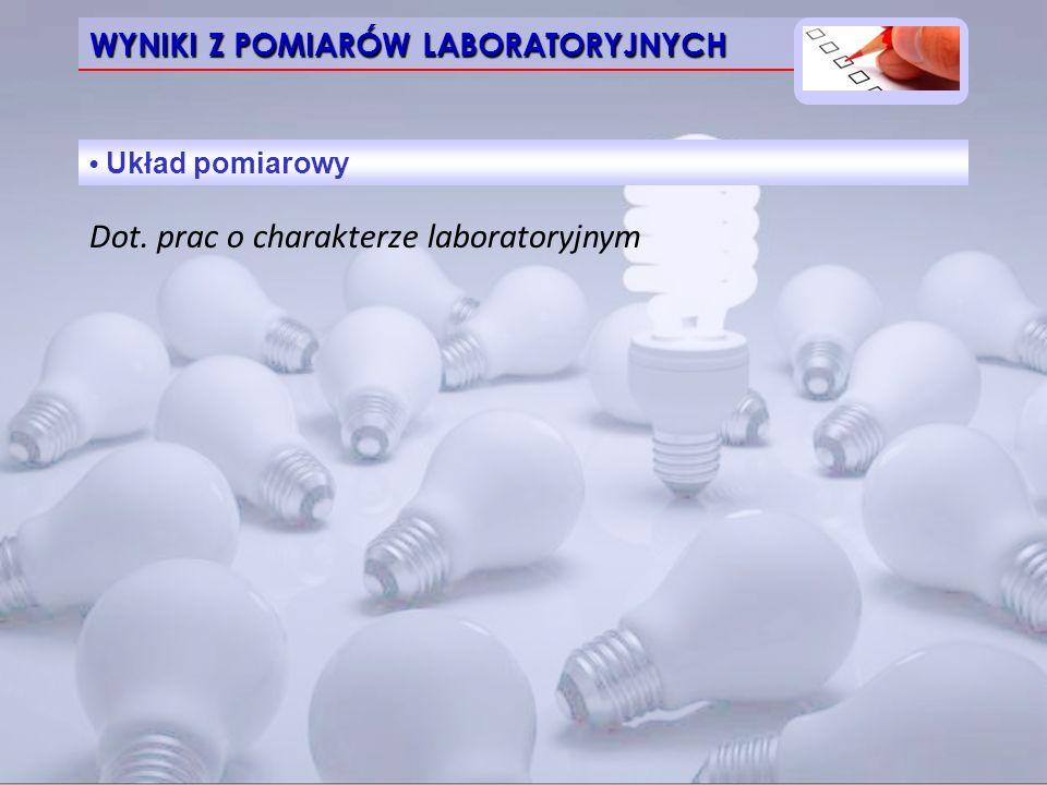 WYNIKI Z POMIARÓW LABORATORYJNYCH Układ pomiarowy Dot. prac o charakterze laboratoryjnym