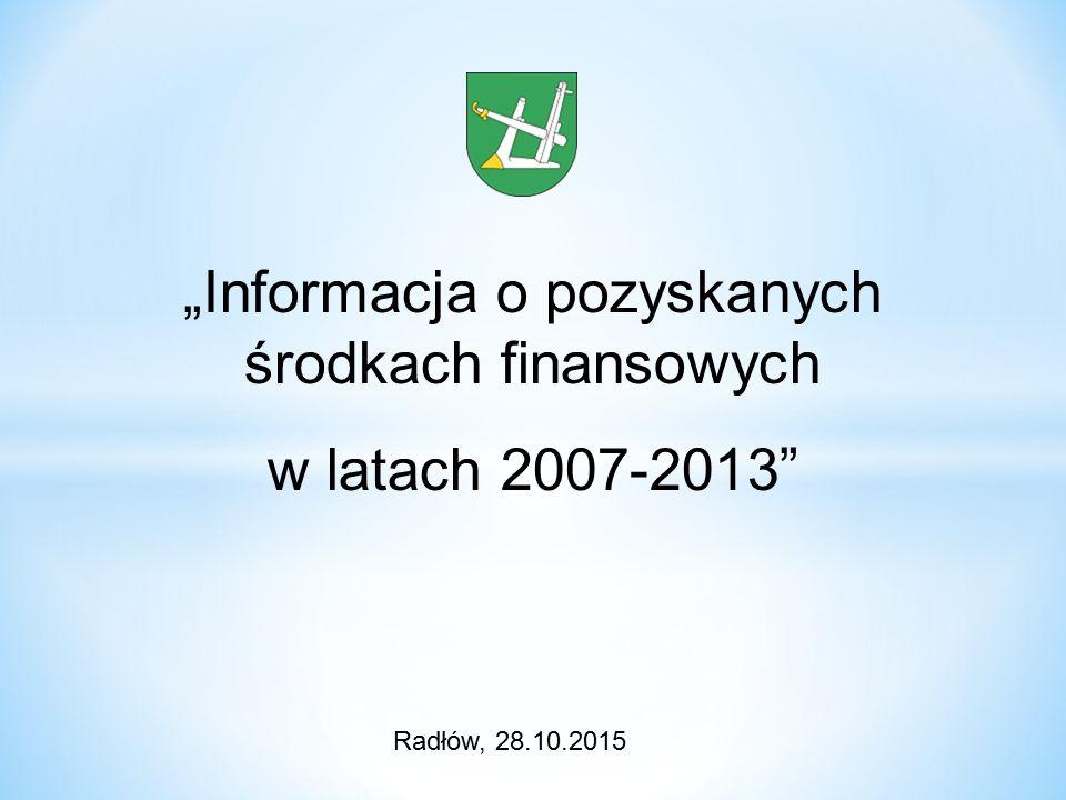 """""""Informacja o pozyskanych środkach finansowych w latach 2007-2013 Radłów, 28.10.2015"""
