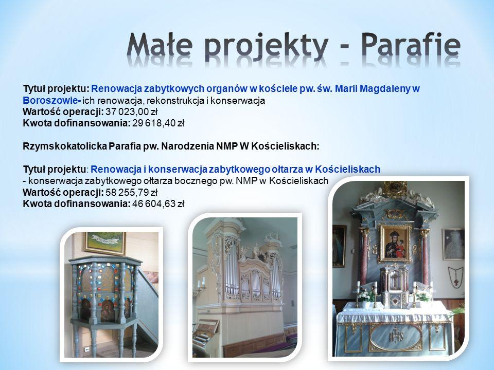 Tytuł projektu: Renowacja zabytkowych organów w kościele pw.