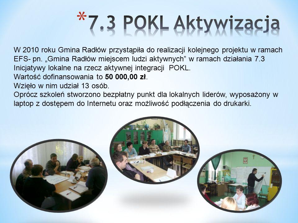 W 2010 roku Gmina Radłów przystąpiła do realizacji kolejnego projektu w ramach EFS- pn.