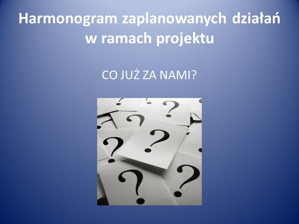 Harmonogram zaplanowanych działań w ramach projektu CO JUŻ ZA NAMI