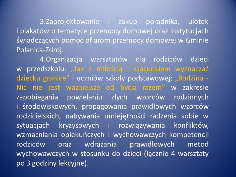 3.Zaprojektowanie i zakup poradnika, ulotek i plakatów o tematyce przemocy domowej oraz instytucjach świadczących pomoc ofiarom przemocy domowej w Gminie Polanica-Zdrój.