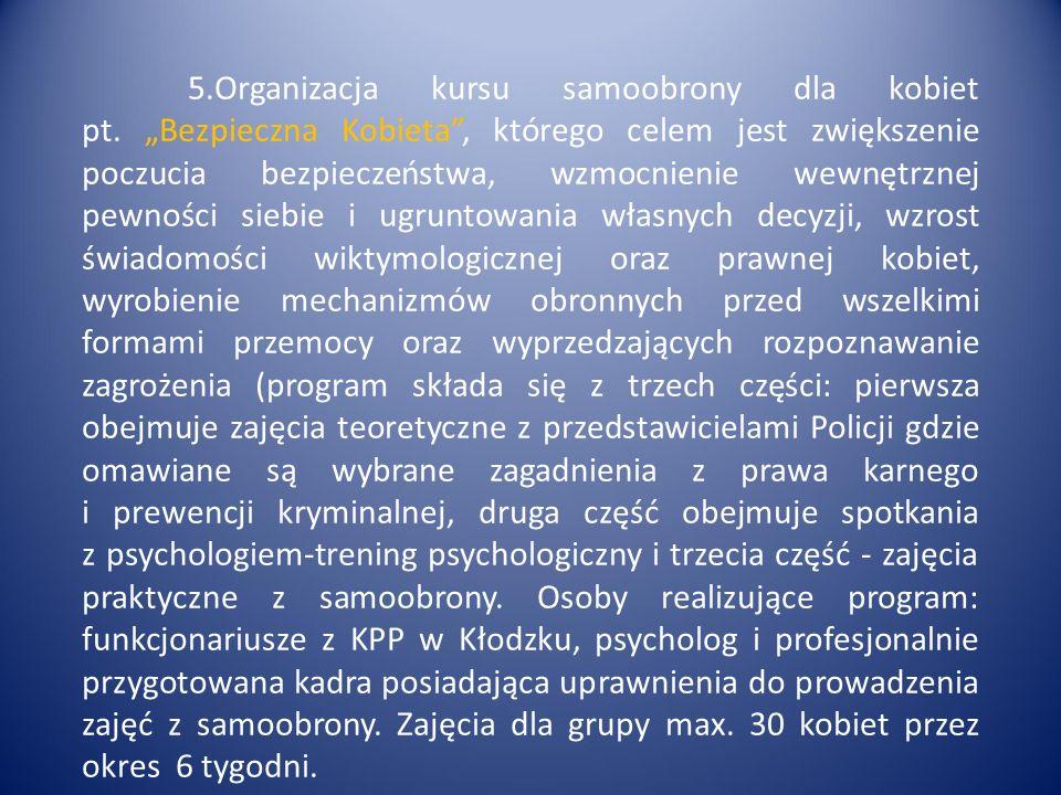 5.Organizacja kursu samoobrony dla kobiet pt.