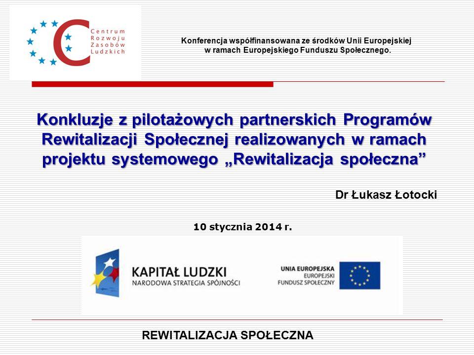"""Konkluzje z pilotażowych partnerskich Programów Rewitalizacji Społecznej realizowanych w ramach projektu systemowego """"Rewitalizacja społeczna Konferencja współfinansowana ze środków Unii Europejskiej w ramach Europejskiego Funduszu Społecznego."""