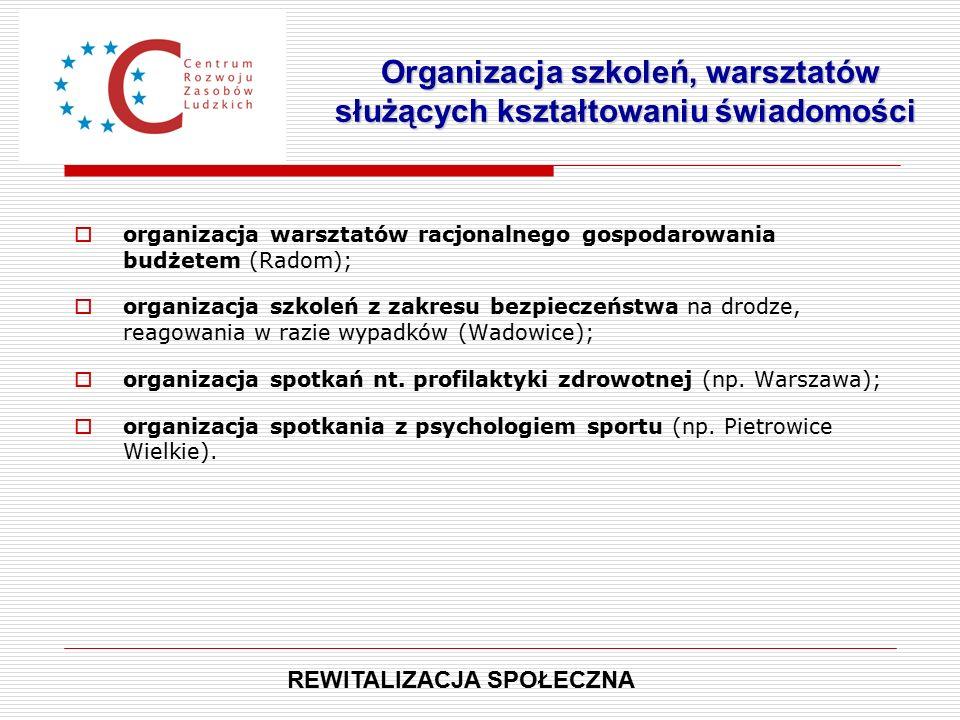  organizacja warsztatów racjonalnego gospodarowania budżetem (Radom);  organizacja szkoleń z zakresu bezpieczeństwa na drodze, reagowania w razie wypadków (Wadowice);  organizacja spotkań nt.
