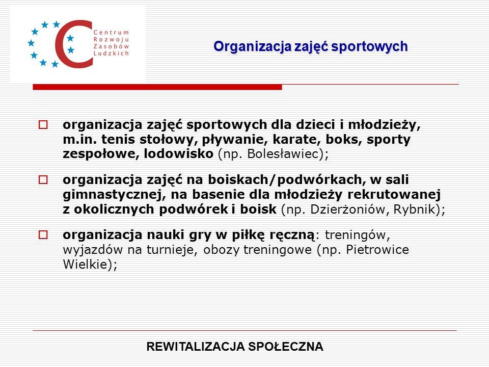  organizacja zajęć sportowych dla dzieci i młodzieży, m.in.