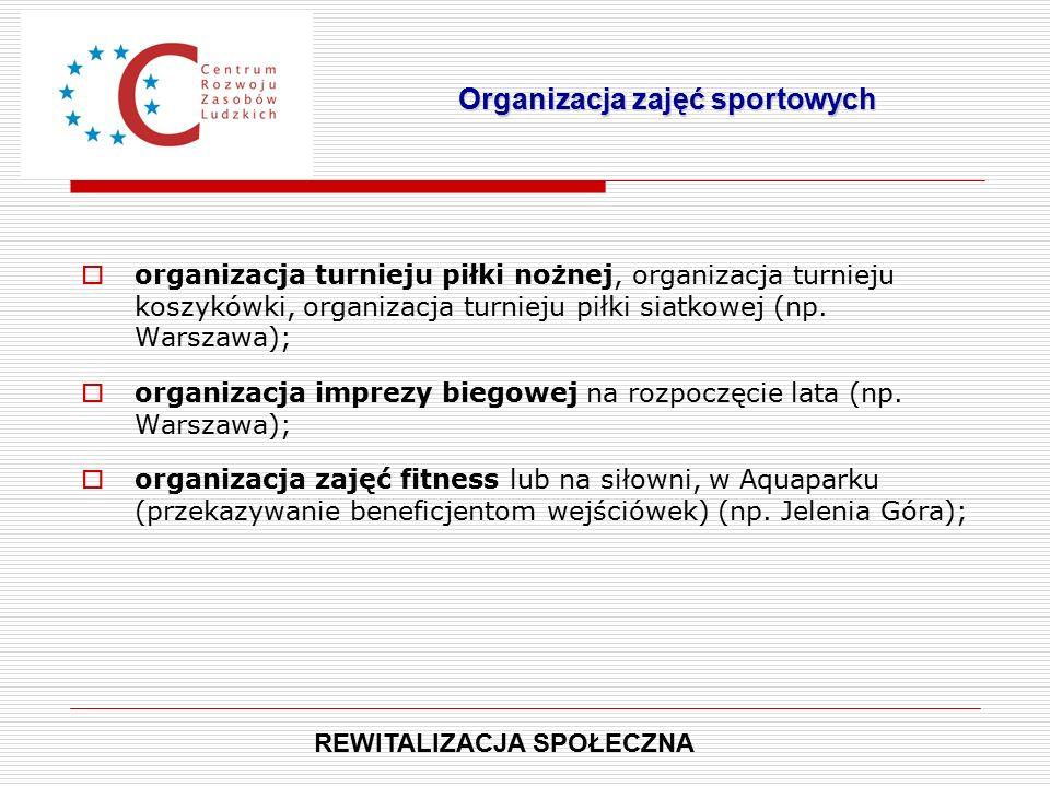  organizacja turnieju piłki nożnej, organizacja turnieju koszykówki, organizacja turnieju piłki siatkowej (np.
