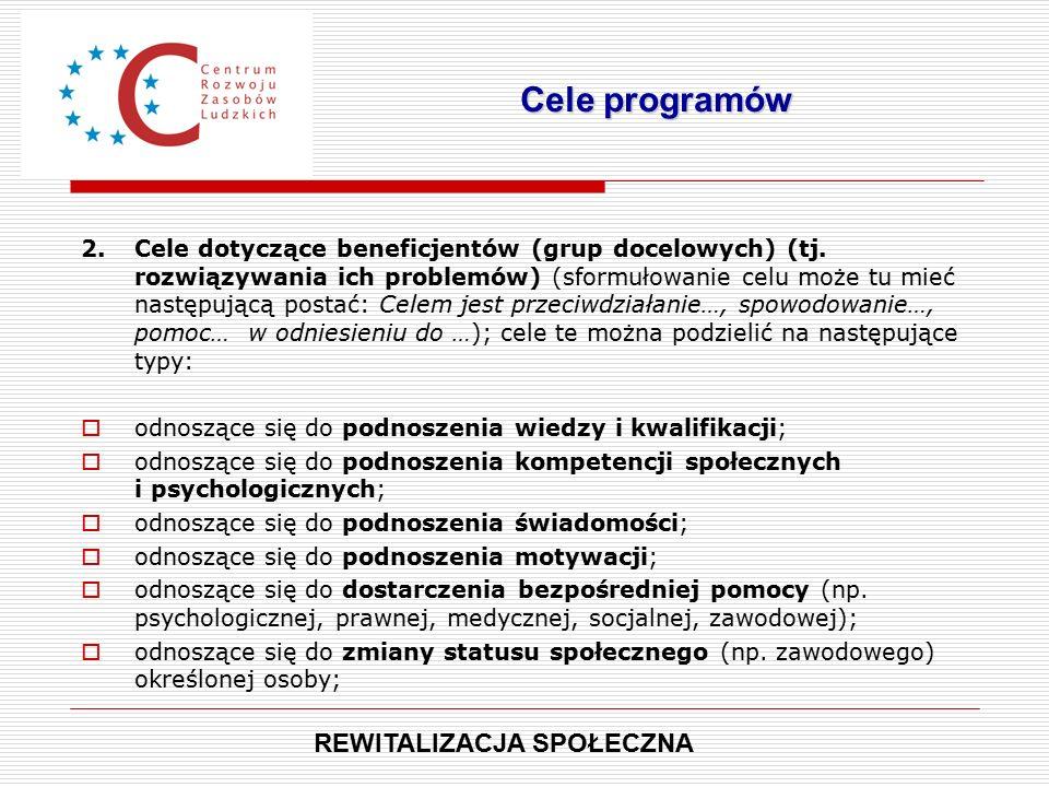 2.Cele dotyczące beneficjentów (grup docelowych) (tj.