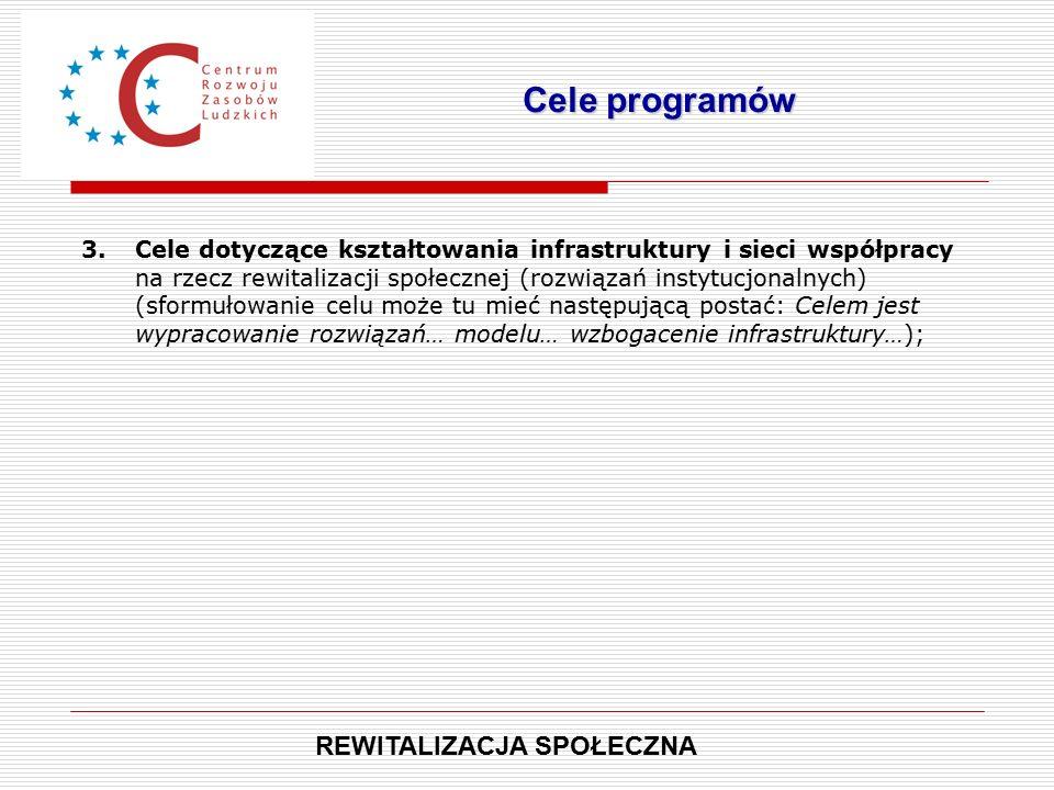 3.Cele dotyczące kształtowania infrastruktury i sieci współpracy na rzecz rewitalizacji społecznej (rozwiązań instytucjonalnych) (sformułowanie celu może tu mieć następującą postać: Celem jest wypracowanie rozwiązań… modelu… wzbogacenie infrastruktury…); Cele programów REWITALIZACJA SPOŁECZNA