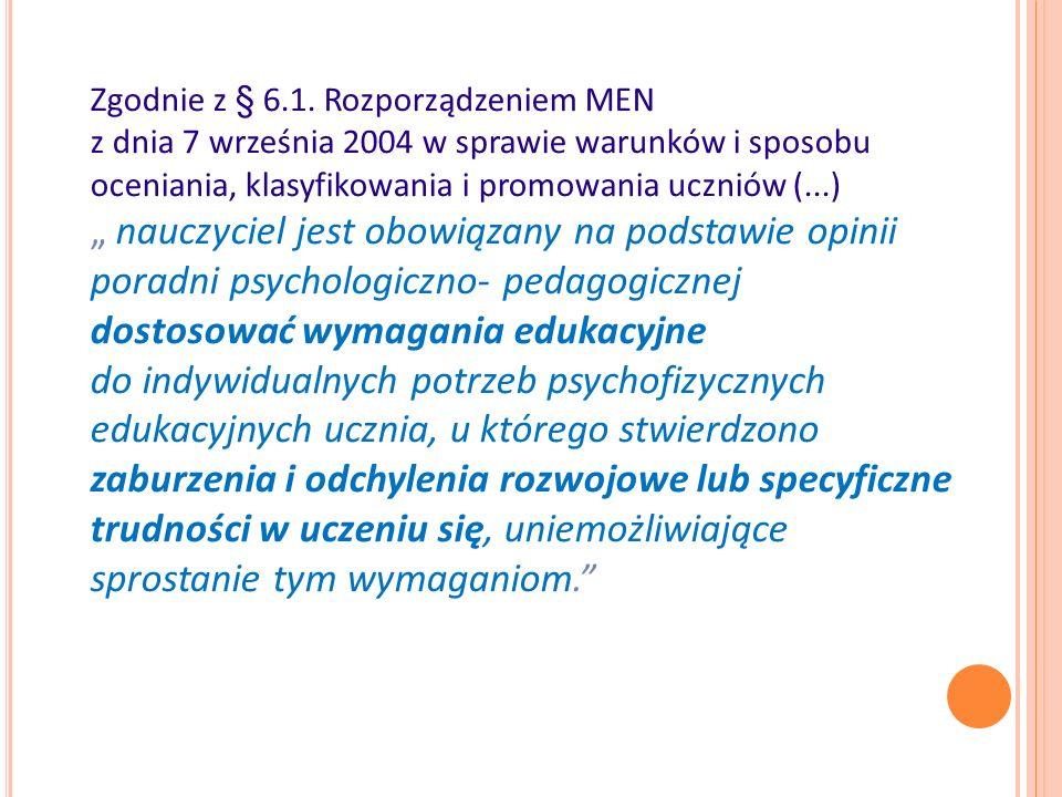 Literatura: -Bogdanowicz M., Adryjanek A., (2004), Uczeń z dysleksją w szkole.