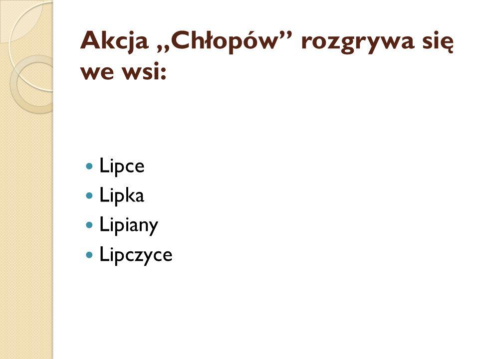 """Akcja """"Chłopów"""" rozgrywa się we wsi: Lipce Lipka Lipiany Lipczyce"""