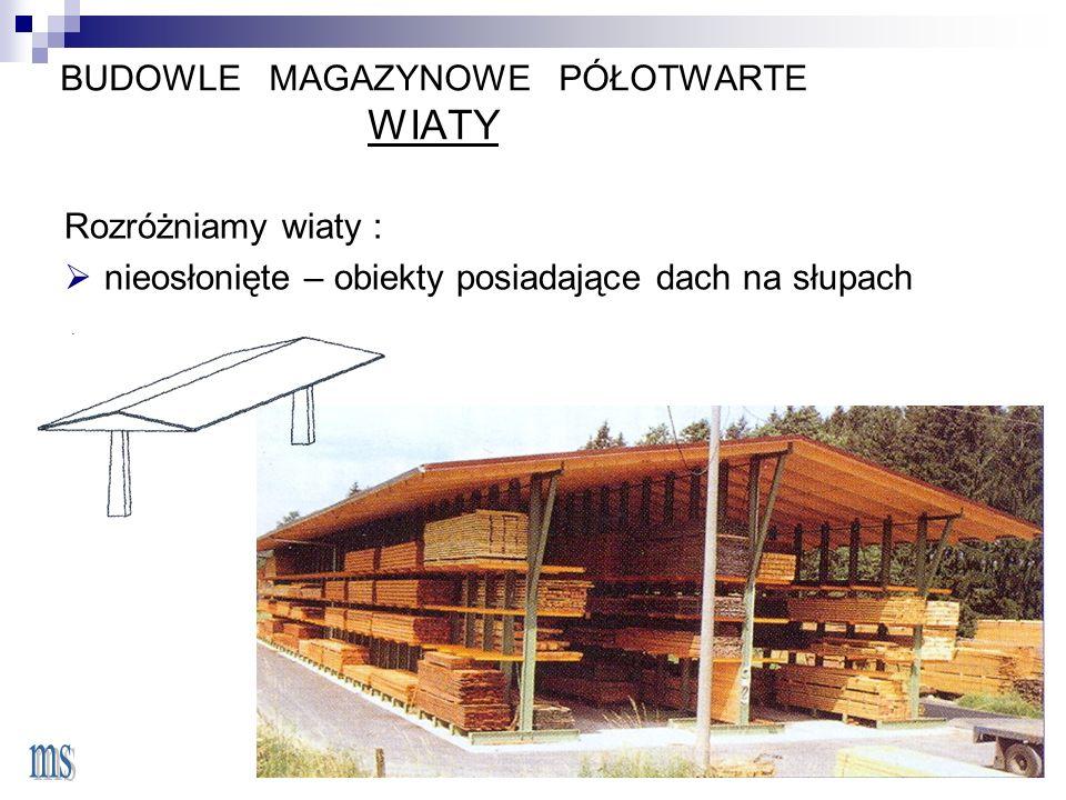 BUDOWLE MAGAZYNOWE PÓŁOTWARTE WIATY Rozróżniamy wiaty :  nieosłonięte – obiekty posiadające dach na słupach