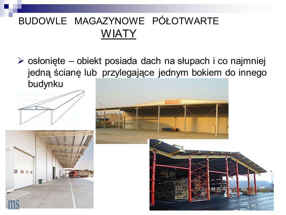 BUDOWLE MAGAZYNOWE PÓŁOTWARTE WIATY  osłonięte – obiekt posiada dach na słupach i co najmniej jedną ścianę lub przylegające jednym bokiem do innego budynku