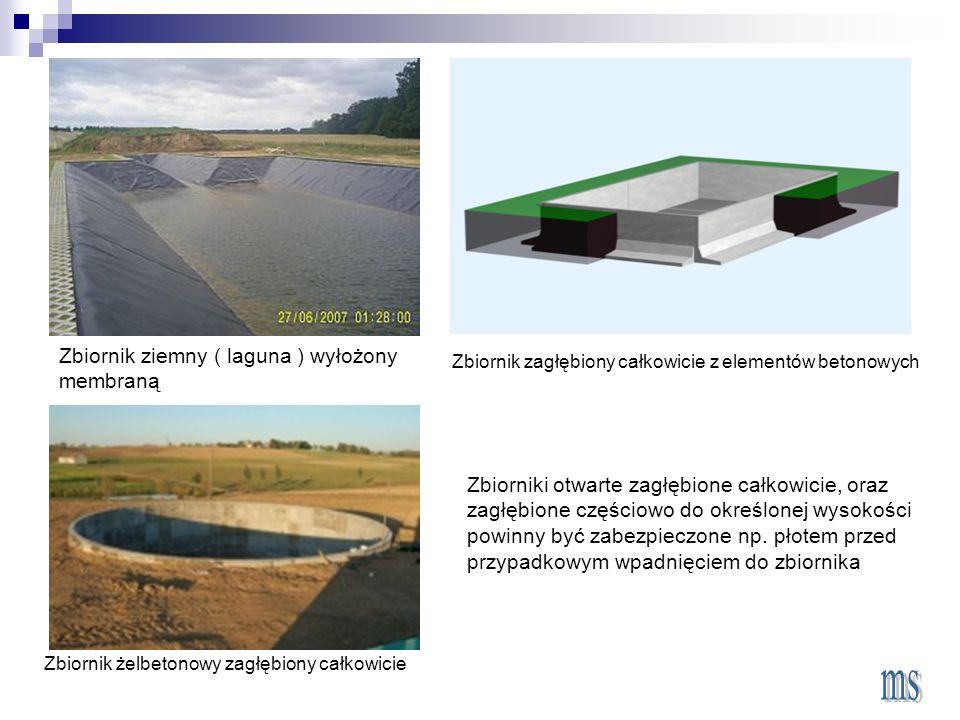 Zbiornik ziemny ( laguna ) wyłożony membraną Zbiornik żelbetonowy zagłębiony całkowicie Zbiornik zagłębiony całkowicie z elementów betonowych Zbiorniki otwarte zagłębione całkowicie, oraz zagłębione częściowo do określonej wysokości powinny być zabezpieczone np.