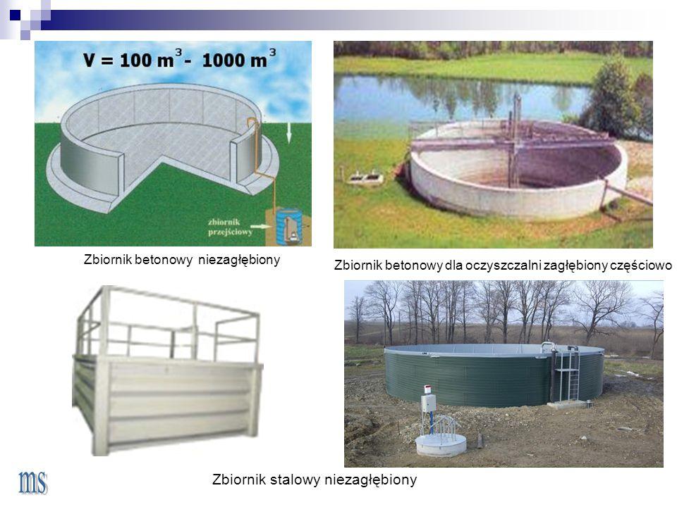 Zbiornik betonowy dla oczyszczalni zagłębiony częściowo <> Zbiornik stalowy niezagłębiony Zbiornik betonowy niezagłębiony