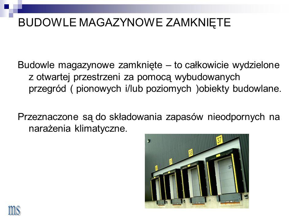 BUDOWLE MAGAZYNOWE ZAMKNIĘTE Budowle magazynowe zamknięte – to całkowicie wydzielone z otwartej przestrzeni za pomocą wybudowanych przegród ( pionowych i/lub poziomych )obiekty budowlane.