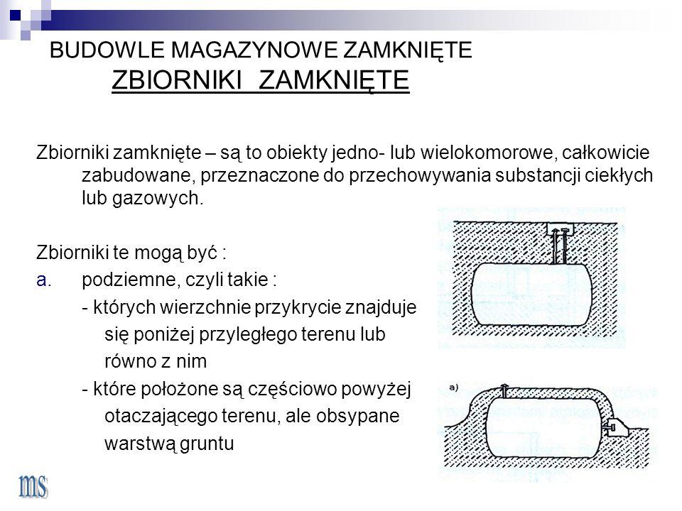 BUDOWLE MAGAZYNOWE ZAMKNIĘTE ZBIORNIKI ZAMKNIĘTE Zbiorniki zamknięte – są to obiekty jedno- lub wielokomorowe, całkowicie zabudowane, przeznaczone do przechowywania substancji ciekłych lub gazowych.
