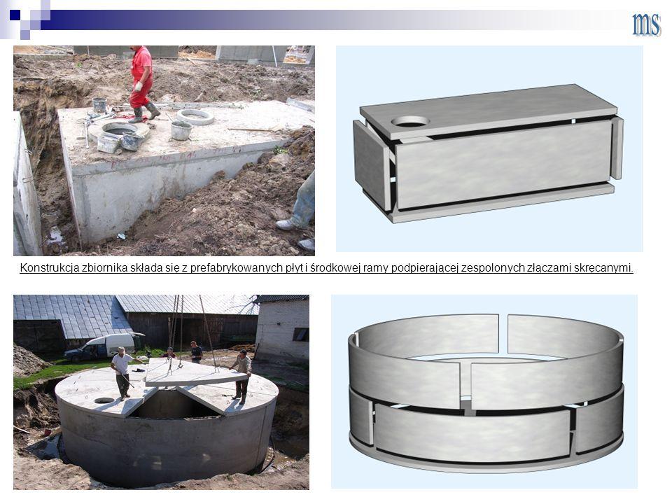 Konstrukcja zbiornika składa się z prefabrykowanych płyt i środkowej ramy podpierającej zespolonych złączami skręcanymi.