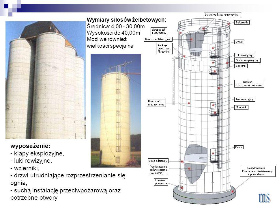 wyposażenie: - klapy eksplozyjne, - luki rewizyjne, - wzierniki, - drzwi utrudniające rozprzestrzenianie się ognia, - suchą instalację przeciwpożarową oraz potrzebne otwory Wymiary silosów żelbetowych: Średnica: 4,00 - 30,00m Wysokości do 40,00m Możliwe również wielkości specjalne