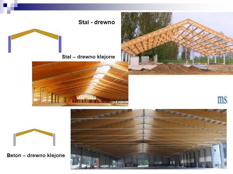 Stal - drewno Stal – drewno klejone Beton – drewno klejone