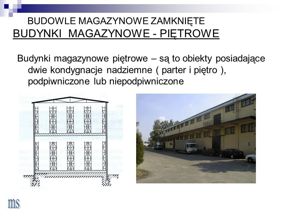 BUDOWLE MAGAZYNOWE ZAMKNIĘTE BUDYNKI MAGAZYNOWE - PIĘTROWE Budynki magazynowe piętrowe – są to obiekty posiadające dwie kondygnacje nadziemne ( parter i piętro ), podpiwniczone lub niepodpiwniczone