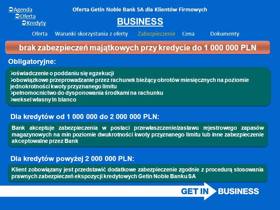 Oferta Getin Noble Bank SA dla Klientów Firmowych BUSINESS  oświadczenie o poddaniu się egzekucji  obowiązkowe przeprowadzanie przez rachunek bieżąc