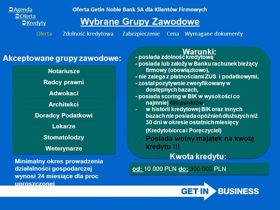 Oferta Getin Noble Bank SA dla Klientów Firmowych Wybrane Grupy Zawodowe od: 10 000 PLN do: 300 000 PLN Notariusze Radcy prawni Akceptowane grupy zawodowe: - posiada zdolność kredytową - posiada lub założy w Banku rachunek bieżący firmowy (obowiązkowo), - nie zalega z płatnościami ZUS i podatkowymi, - został pozytywnie zweryfikowany w dostępnych bazach, - posiada scoring w BIK w wysokości co najmniej 460 punktów, -w historii kredytowej BIK oraz innych bazach nie posiada opóźnień dłuższych niż 30 dni w okresie ostatnich miesięcy (Kredytobiorca i Poręczyciel) -Posiada wolny majątek na kwotę kredytu !!.