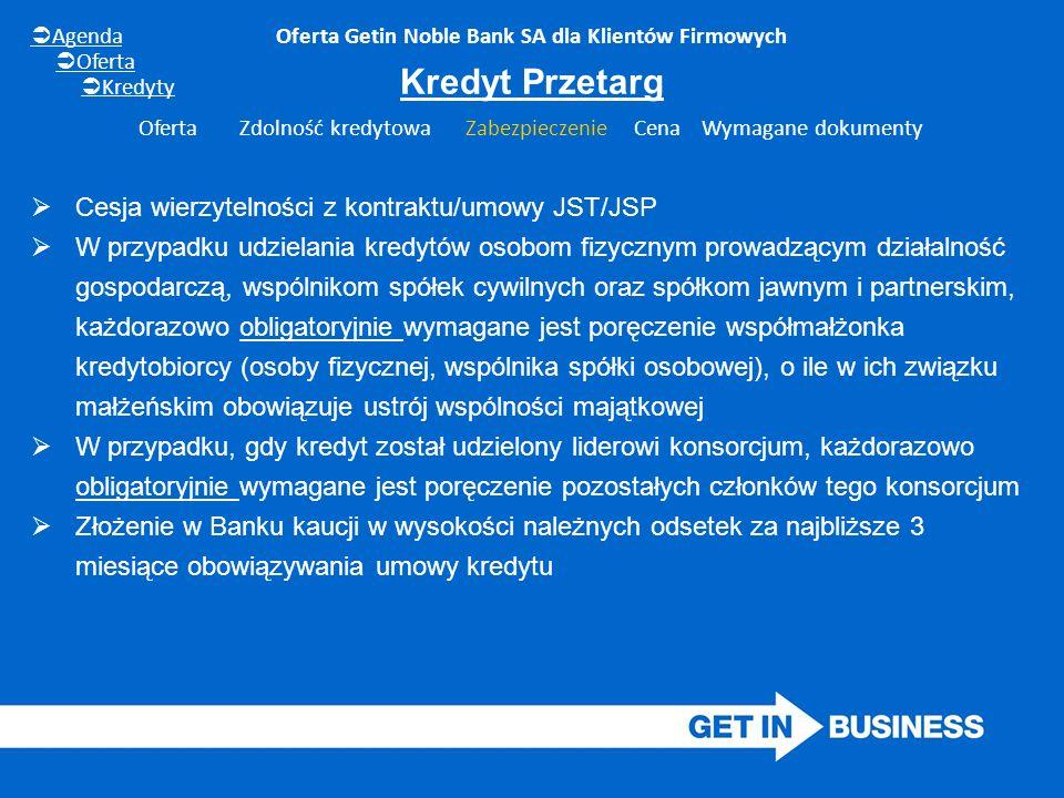 Oferta Getin Noble Bank SA dla Klientów Firmowych  Cesja wierzytelności z kontraktu/umowy JST/JSP  W przypadku udzielania kredytów osobom fizycznym