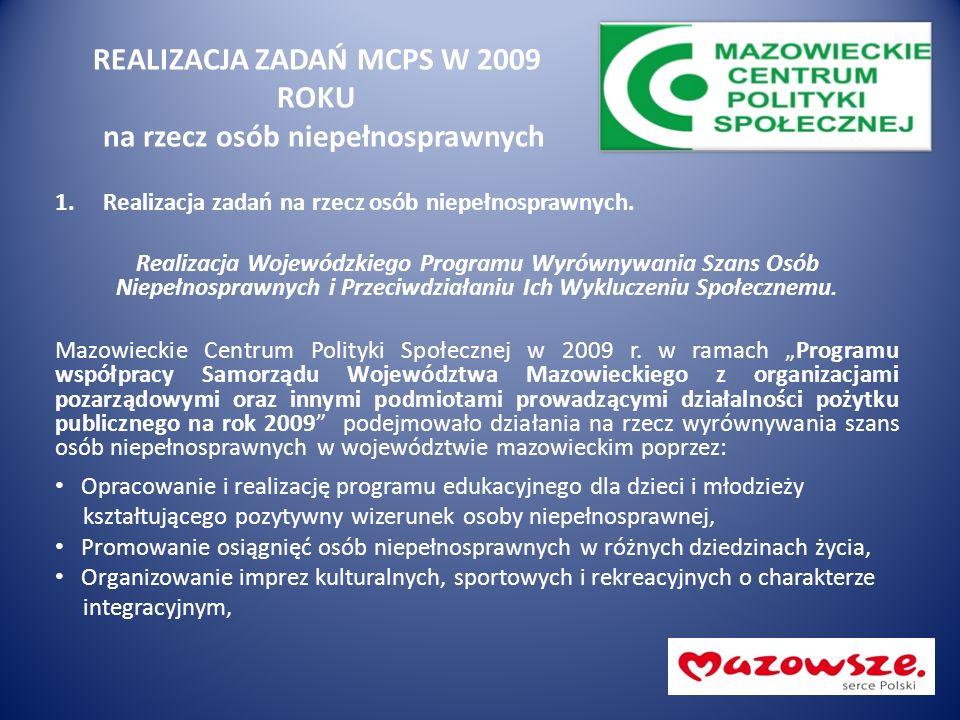 REALIZACJA ZADAŃ MCPS W 2009 ROKU na rzecz osób niepełnosprawnych 1.Realizacja zadań na rzecz osób niepełnosprawnych. Realizacja Wojewódzkiego Program