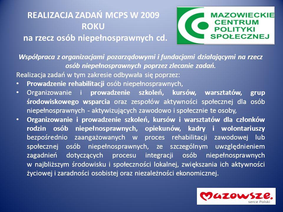 REALIZACJA ZADAŃ MCPS W 2009 ROKU na rzecz osób niepełnosprawnych cd. Współpraca z organizacjami pozarządowymi i fundacjami działającymi na rzecz osób