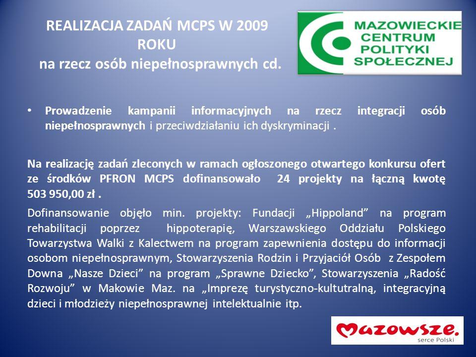 REALIZACJA ZADAŃ MCPS W 2009 ROKU na rzecz osób niepełnosprawnych cd. Prowadzenie kampanii informacyjnych na rzecz integracji osób niepełnosprawnych i