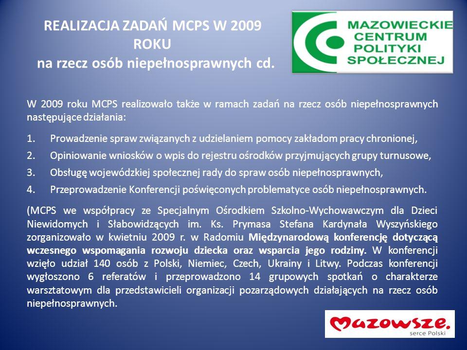 REALIZACJA ZADAŃ MCPS W 2009 ROKU na rzecz osób niepełnosprawnych cd. W 2009 roku MCPS realizowało także w ramach zadań na rzecz osób niepełnosprawnyc