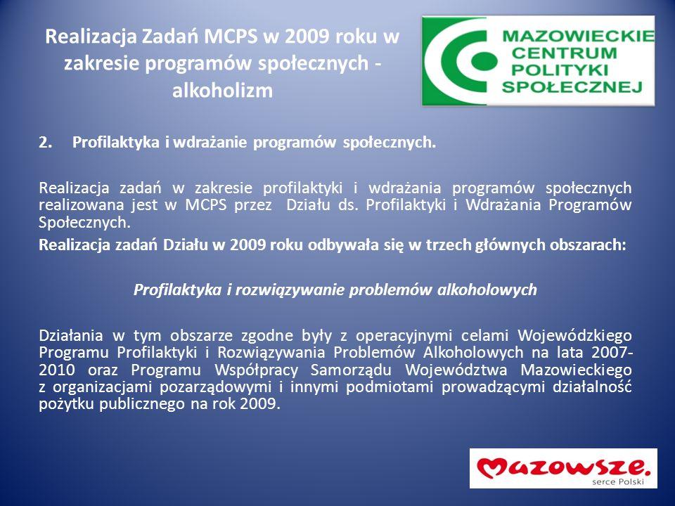 Realizacja Zadań MCPS w 2009 roku w zakresie programów społecznych - alkoholizm 2.Profilaktyka i wdrażanie programów społecznych. Realizacja zadań w z