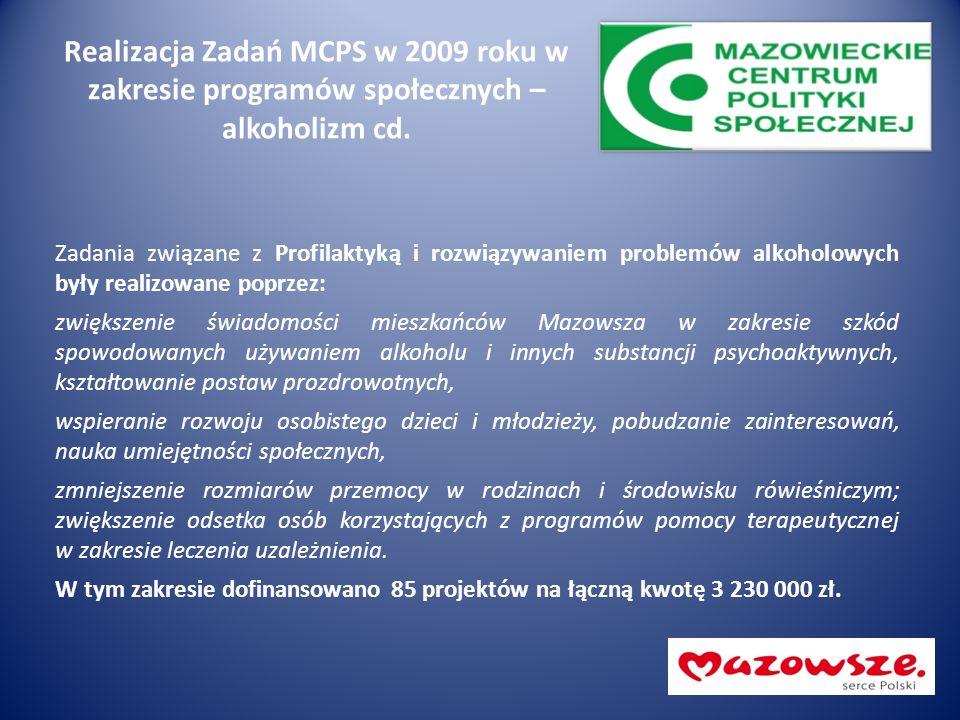Realizacja Zadań MCPS w 2009 roku w zakresie programów społecznych – alkoholizm cd. Zadania związane z Profilaktyką i rozwiązywaniem problemów alkohol