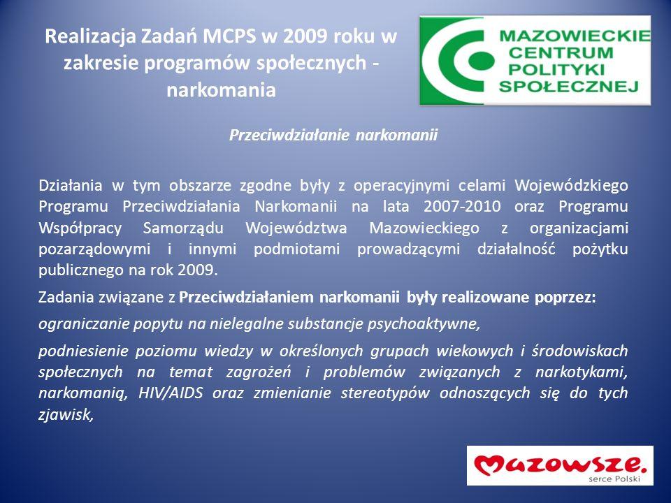 Realizacja Zadań MCPS w 2009 roku w zakresie programów społecznych - narkomania Przeciwdziałanie narkomanii Działania w tym obszarze zgodne były z operacyjnymi celami Wojewódzkiego Programu Przeciwdziałania Narkomanii na lata 2007-2010 oraz Programu Współpracy Samorządu Województwa Mazowieckiego z organizacjami pozarządowymi i innymi podmiotami prowadzącymi działalność pożytku publicznego na rok 2009.