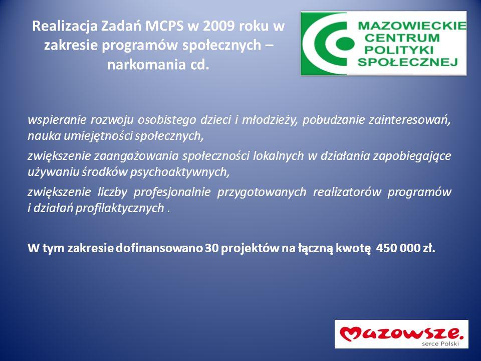 Realizacja Zadań MCPS w 2009 roku w zakresie programów społecznych – narkomania cd. wspieranie rozwoju osobistego dzieci i młodzieży, pobudzanie zaint