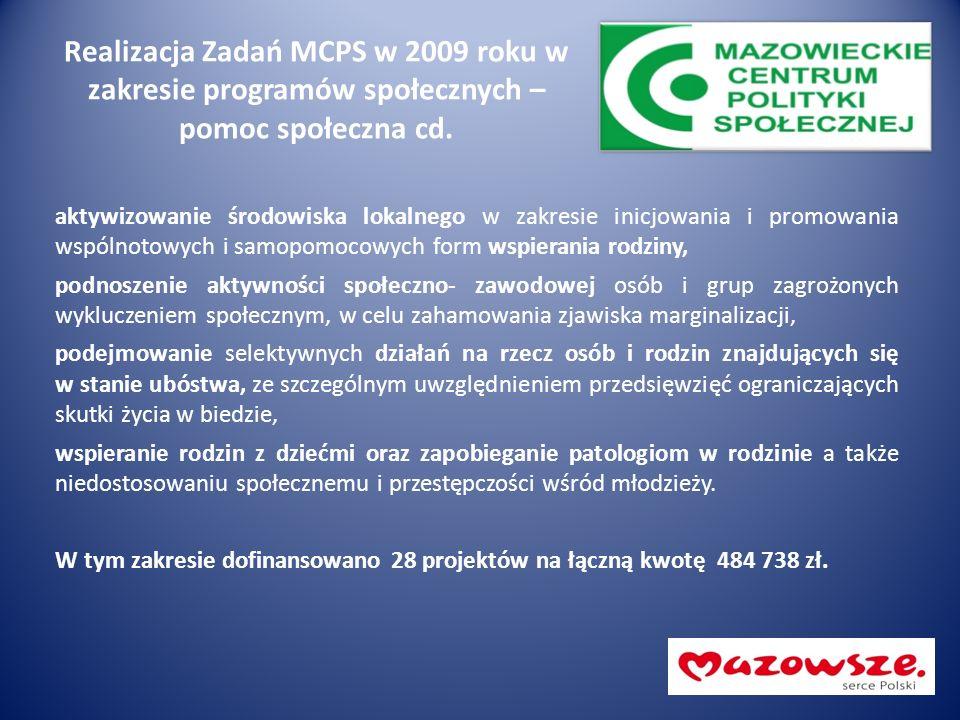 Realizacja Zadań MCPS w 2009 roku w zakresie programów społecznych – pomoc społeczna cd. aktywizowanie środowiska lokalnego w zakresie inicjowania i p