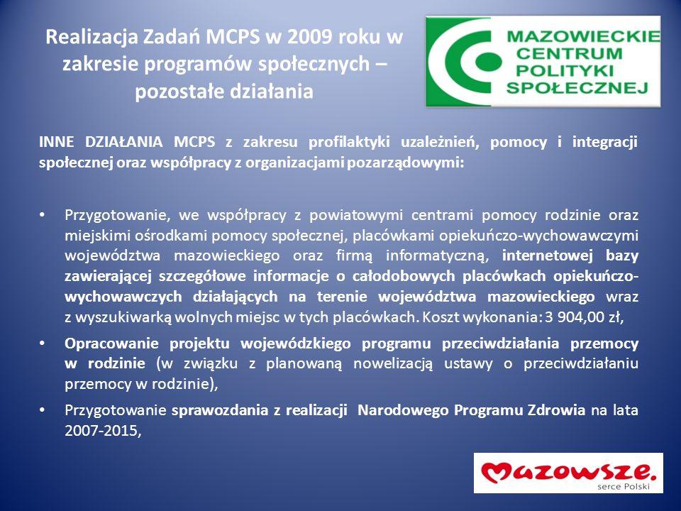 Realizacja Zadań MCPS w 2009 roku w zakresie programów społecznych – pozostałe działania INNE DZIAŁANIA MCPS z zakresu profilaktyki uzależnień, pomocy