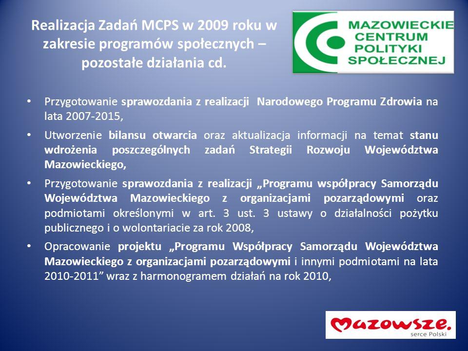 Realizacja Zadań MCPS w 2009 roku w zakresie programów społecznych – pozostałe działania cd. Przygotowanie sprawozdania z realizacji Narodowego Progra