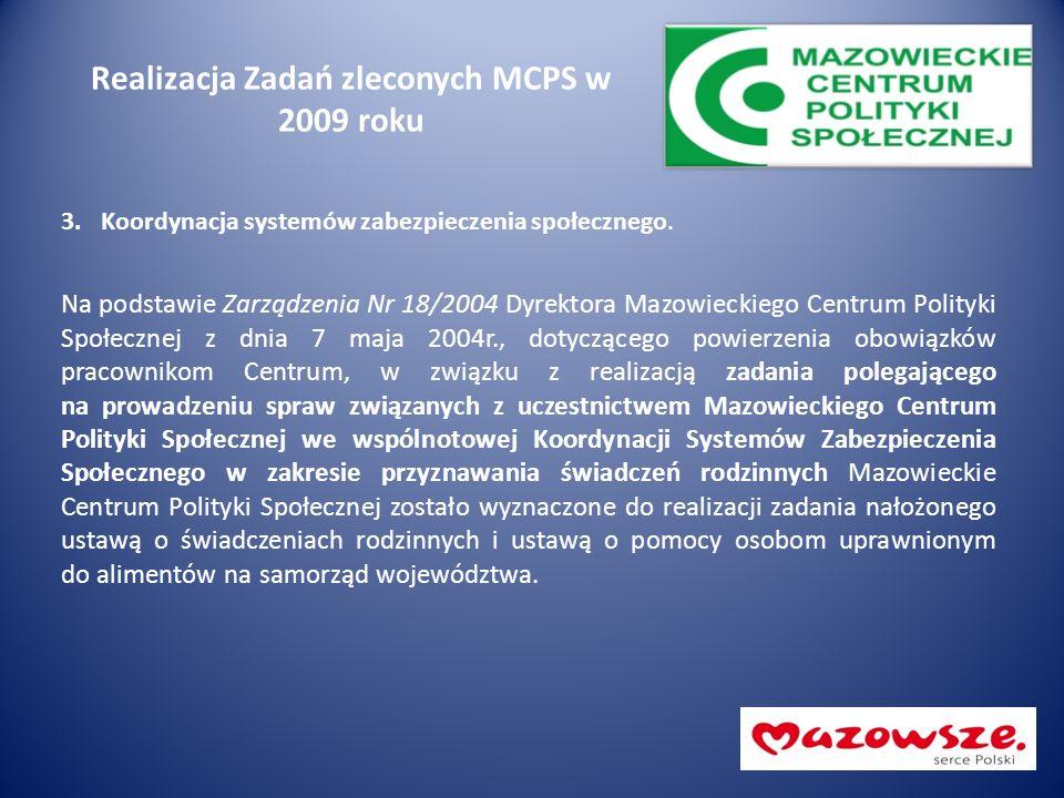 Realizacja Zadań zleconych MCPS w 2009 roku 3.Koordynacja systemów zabezpieczenia społecznego. Na podstawie Zarządzenia Nr 18/2004 Dyrektora Mazowieck