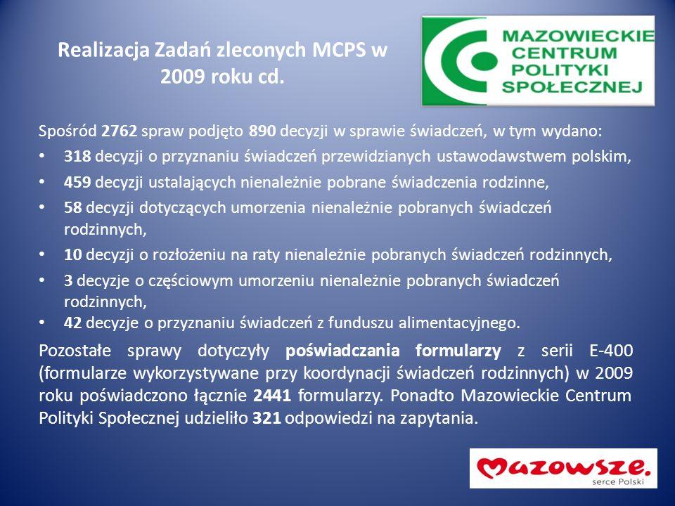 Realizacja Zadań zleconych MCPS w 2009 roku cd. Spośród 2762 spraw podjęto 890 decyzji w sprawie świadczeń, w tym wydano: 318 decyzji o przyznaniu świ
